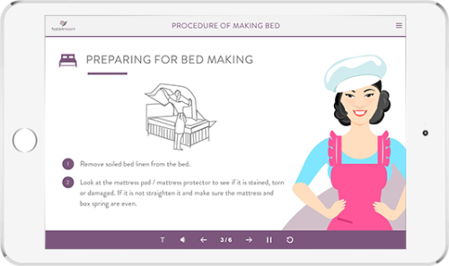 Microlearning nuggets to train the frontline employees of a hospitality service provider